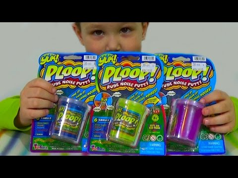 Лизуны пердушечки в баночках звуки Yuk Ploop toys unboxing slime silly putty noise
